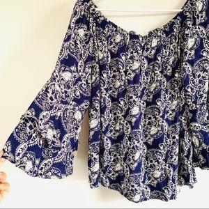 Solitaire blue paisley off the shoulder blouse